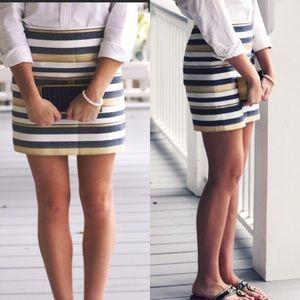 NWT J. Crew Shiny Striped Metallic Mini Skirt
